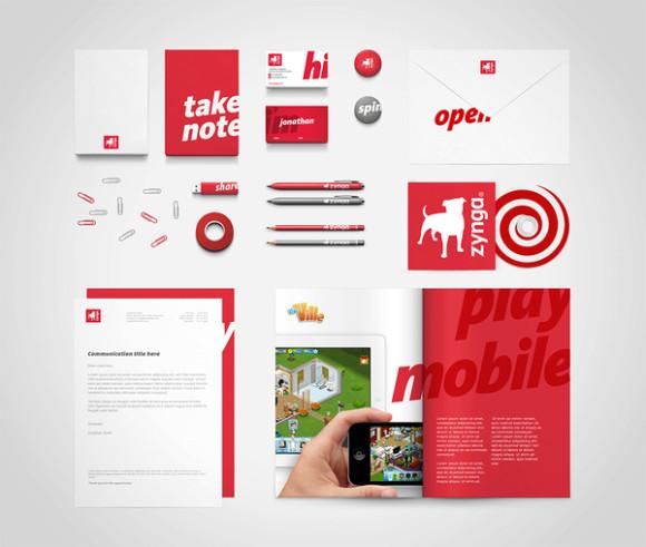 zynga brand stationery branding identity design